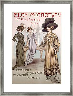 Fashion Advert For Eloy Mignot Framed Print by French School
