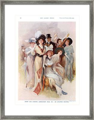 Fashion At Ascot Races 1911 1910s Uk Cc Framed Print by The Advertising Archives
