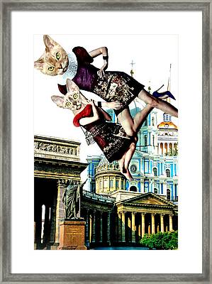 Fashion Illustration Above The City. Collage Framed Print by Irina Bast
