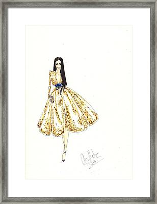 Fashion Illustration Gold Sequin Dress Framed Print