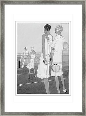 Fashion Illustration Of Women On A Tennis Court Framed Print