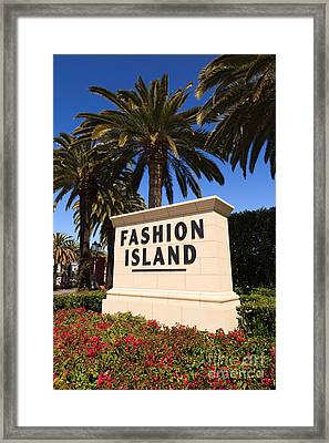 Fashion Island Sign In Orange County California Framed Print by Paul Velgos