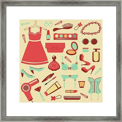 Fashion Items Set Framed Print