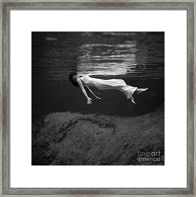 Fashion Model Floating In Water, 1947 Framed Print by Science Source