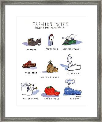 Fashion Notes First Shoes From Italy Framed Print by Michael Crawford
