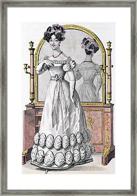 Fashion Plate Of A Lady In Evening Framed Print by English School