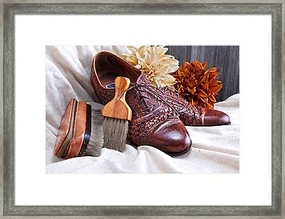 Fashionable Italian Shoes Still Life Framed Print by Tom Mc Nemar