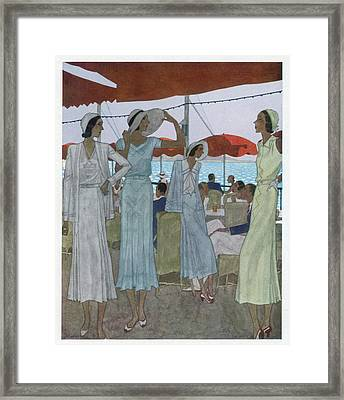 Fashionable Ladies On The Casino Framed Print