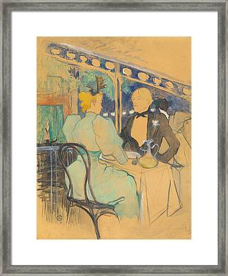 Fashionable People At Les Ambassadeurs Framed Print by Toulouse-Lautrec