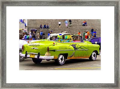 Fast And Furious In Cuba Framed Print by Karen Wiles