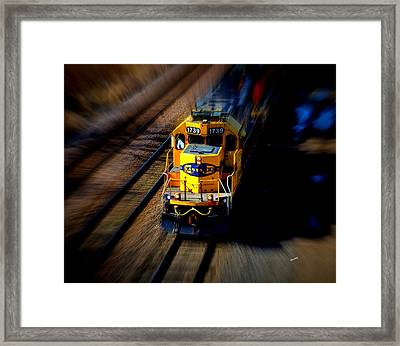 Framed Print featuring the photograph Fast Moving Train by Karen Kersey