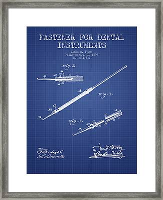 Fastener For Dental Instruments Patent From 1899 -  Blueprint Framed Print by Aged Pixel