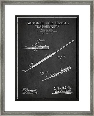 Fastener For Dental Instruments Patent From 1899 - Dark Framed Print by Aged Pixel