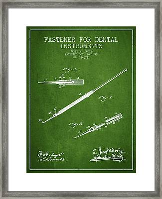 Fastener For Dental Instruments Patent From 1899 - Green Framed Print by Aged Pixel