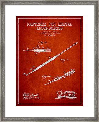 Fastener For Dental Instruments Patent From 1899 - Red Framed Print by Aged Pixel