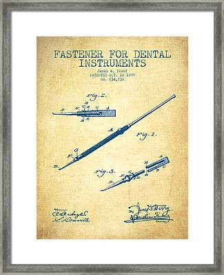 Fastener For Dental Instruments Patent From 1899 - Vintage Paper Framed Print