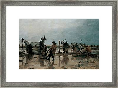 Fastening The Nets Framed Print