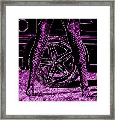 Faster In Fishnets Framed Print by Guy Pettingell