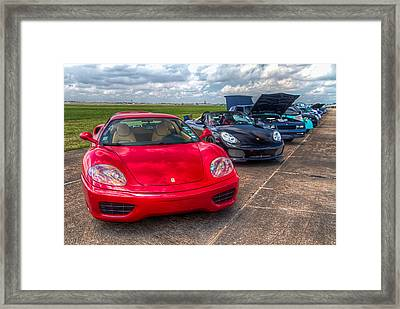 Faster In Red Framed Print by Tim Stanley