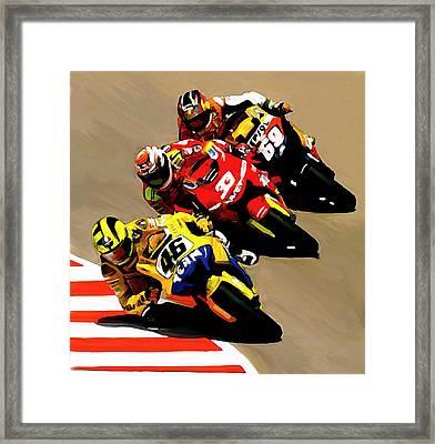 Faster  Valentino Rossi Nicky Hayden Framed Print