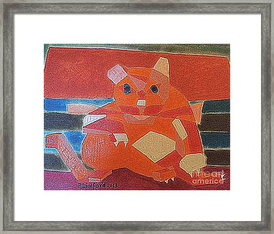 Fat Cat On A Hot Chaise Lounge Framed Print by Richard W Linford