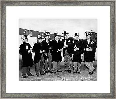Fat Cats In Tuxedos Framed Print by Underwood Archives