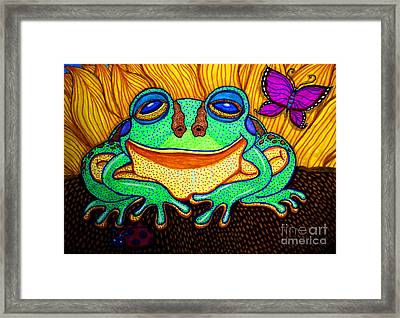 Fat Green Frog On A Sunflower Framed Print by Nick Gustafson