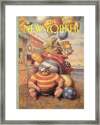 Fat Man Selling Balloons Framed Print by Peter de Seve