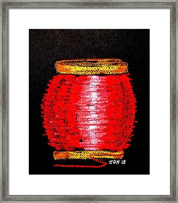 Framed Print featuring the drawing Fat Red  by Joseph Hawkins