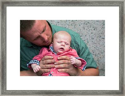 Father And Baby Son Framed Print by Jim West