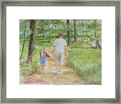Father And Daughter Walk Framed Print