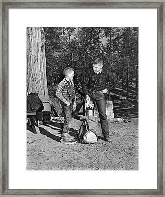 Father And Son Go Backpacking Framed Print