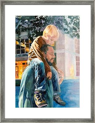 Father And Son In Morning Mist Framed Print