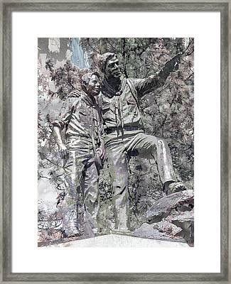 Father And Son Scouting Framed Print