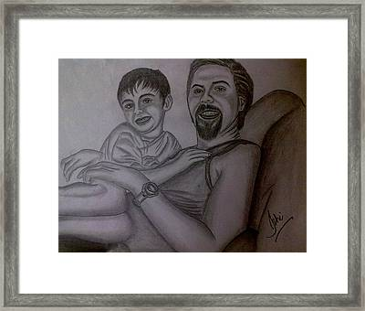 Father And Son Framed Print by Syeda Ishrat