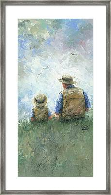 Father And Son Talk Tall Framed Print by Vickie Wade