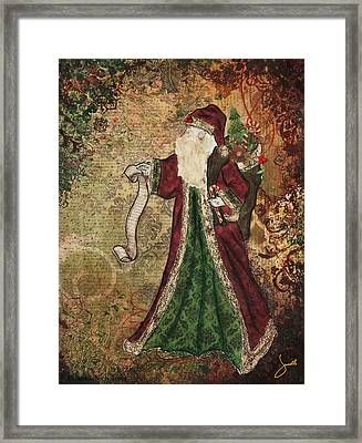 Father Christmas A Christmas Mixed Media Artwork Framed Print