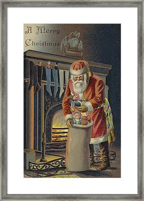 Father Christmas Filling Children's Stockings Framed Print by English School