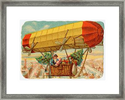 Father Christmas In Airship Framed Print by Mary Evans
