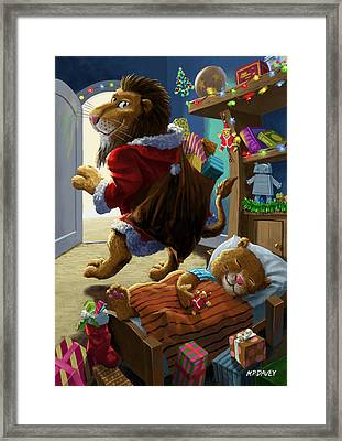 Father Christmas Lion Delivering Presents Framed Print by Martin Davey