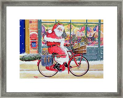 Father Christmas On A Bicycle Wc Framed Print