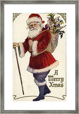 Father Christmas With A Bag Of Toys Framed Print by English School