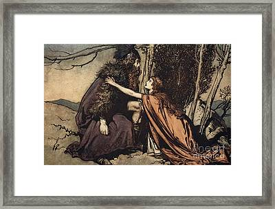 Father Father Tell Me What Ails Thee With Dismay Thou Art Filling Thy Child Framed Print by Arthur Rackham