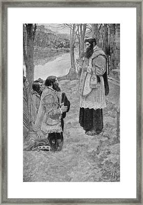 Father Hennepin Celebrating Mass, Illustration From La Salle And The Discovery Of The Great West Framed Print by Howard Pyle