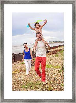Father On Beach With Daughter Framed Print by Ian Hooton