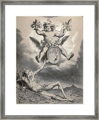 Father Rhine In 1857, Germany, 19th Century Framed Print by German School