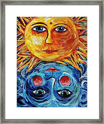 Father Sun And Mother Moon Framed Print by Sebastian Pierre