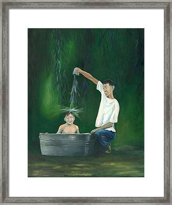 Framed Print featuring the painting Fatherly Fun by Dan Redmon