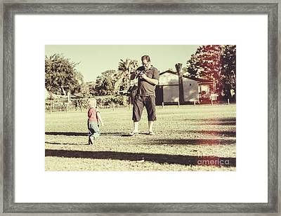 Fathers Day Dad Trying Out New Digital Slr Technology Framed Print