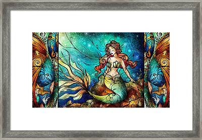 Fathoms Below Triptych Framed Print by Mandie Manzano